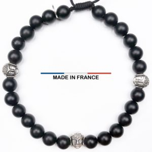 Bracelet pierre Onyx Mat 6 mm et 3 Boudhas Argentés vue du dessus