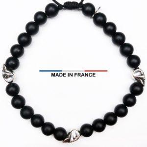Bracelet pierre semi-précieuse Onyx Mat 6 mm et 3 Cranes Argentés vue du dessus