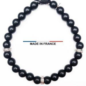 Bracelet pierre semi précieuse Onyx Mat 6 mm et 3 Intercalaires Argentés vue du dessus