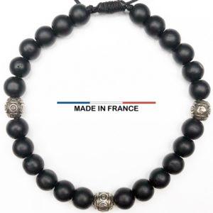 Bracelet pierre semi-précieuse Onyx Mat 6 mm et 3 Olives Argentées vue du dessus