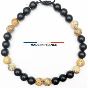 Bracelet pierre Onyx Mat 6 mm et Jaspe Paysagé d_Afrique vue du dessus