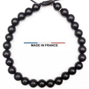 Bracelet pierre semi précieuse Onyx Mat 6 mm vue du dessus