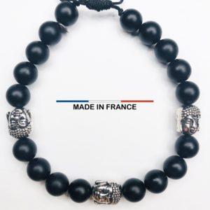 Bracelet pierre semi précieuse Onyx Mat 8 mm et 3 Cranes argentés vue du dessus