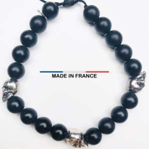Bracelet pierre semi-précieuse Onyx Mat 8 mm et 3 Cranes argentés vue du dessus