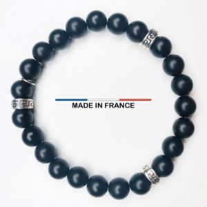 Bracelet pierre Onyx Mat 8 mm et 3 Intercalaires argentés vue du dessus