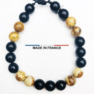 Bracelet pierre semi-précieuse Onyx Mat 8 mm et Jaspe paysagé d'Afrique du Sud vue du dessus