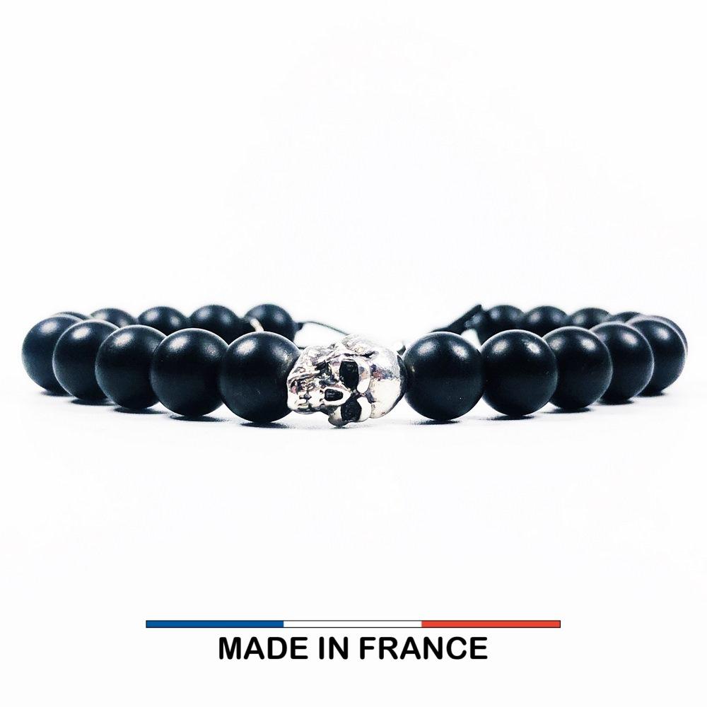 Bracelet yodee en Onyx Mat 8 mm et un Crane argenté