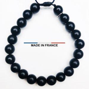 Bracelet pierre semi-précieuse Onyx Mat 8 mm vue du dessus