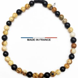 Bracelet pierre semi précieuse Onyx et Jaspe 4 mm vue du dessus