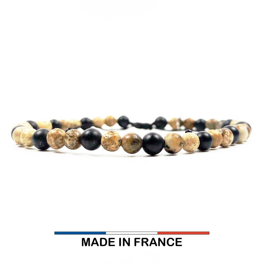 Bracelet yodee en Onyx et Jaspe 4 mm
