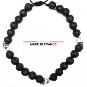 Bracelet Pierre de Lave 6 mm et 3 Cranes Argentés vue du dessus