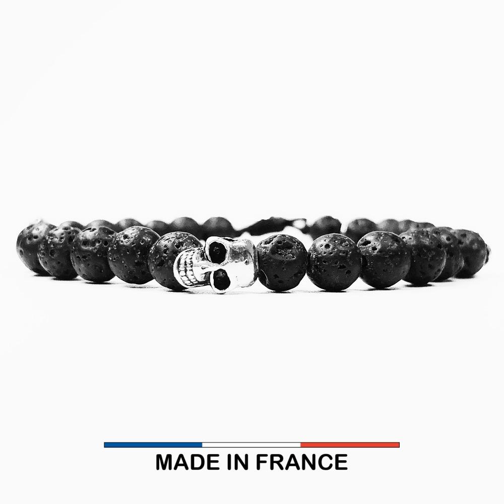 Bracelet yodee en Pierre de Lave 6 mm et 3 Cranes Argentés