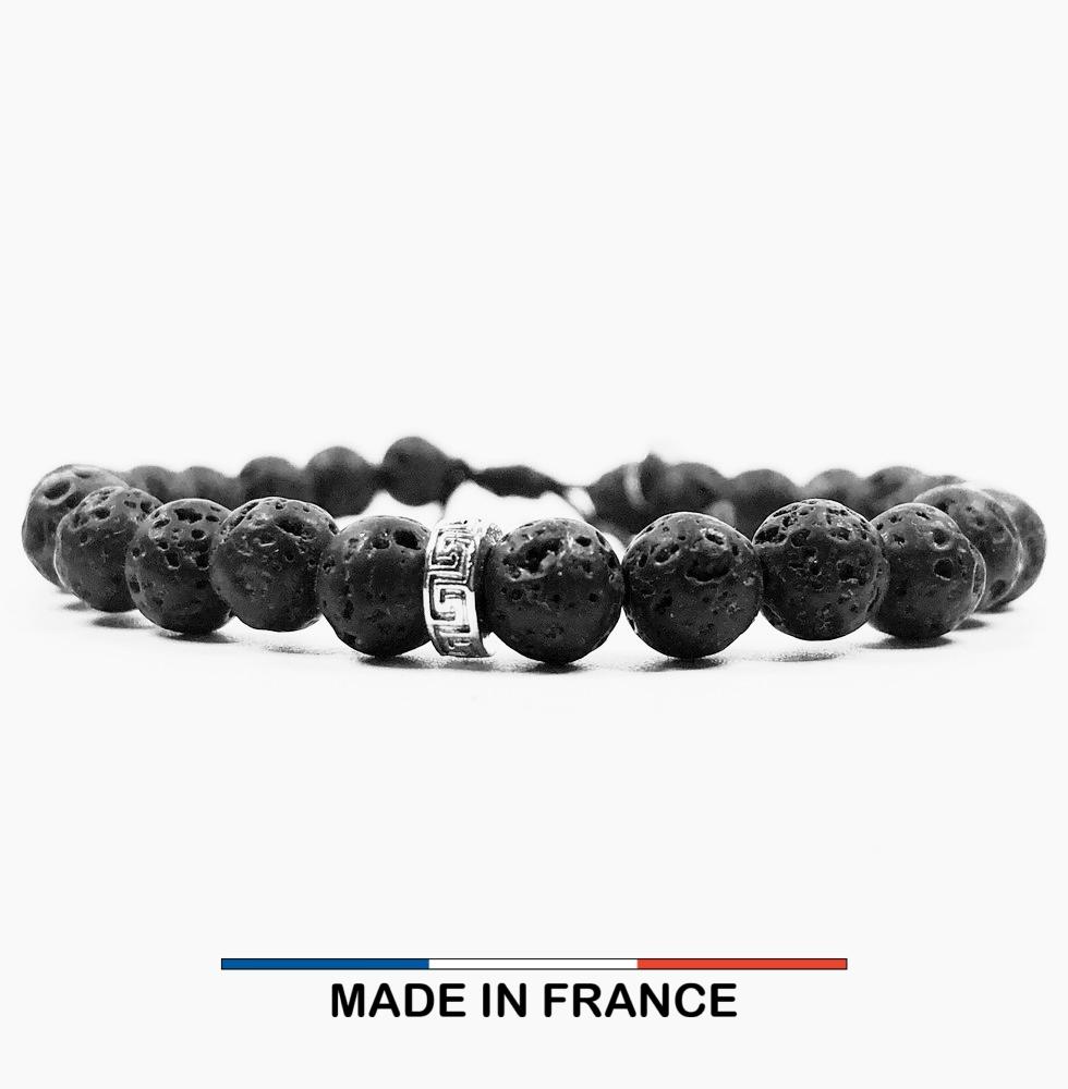 Bracelet yodee en Pierre de Lave 6 mm et 3 Intercalaires Argentés