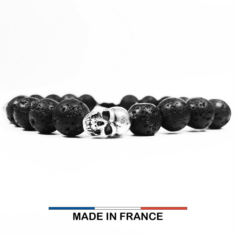 Bracelet yodee en Pierre de Lave 8 mm et 3 Cranes Argentés