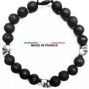 Bracelet Pierre de Lave 8 mm et 3 Cranes Argentés vue du dessus