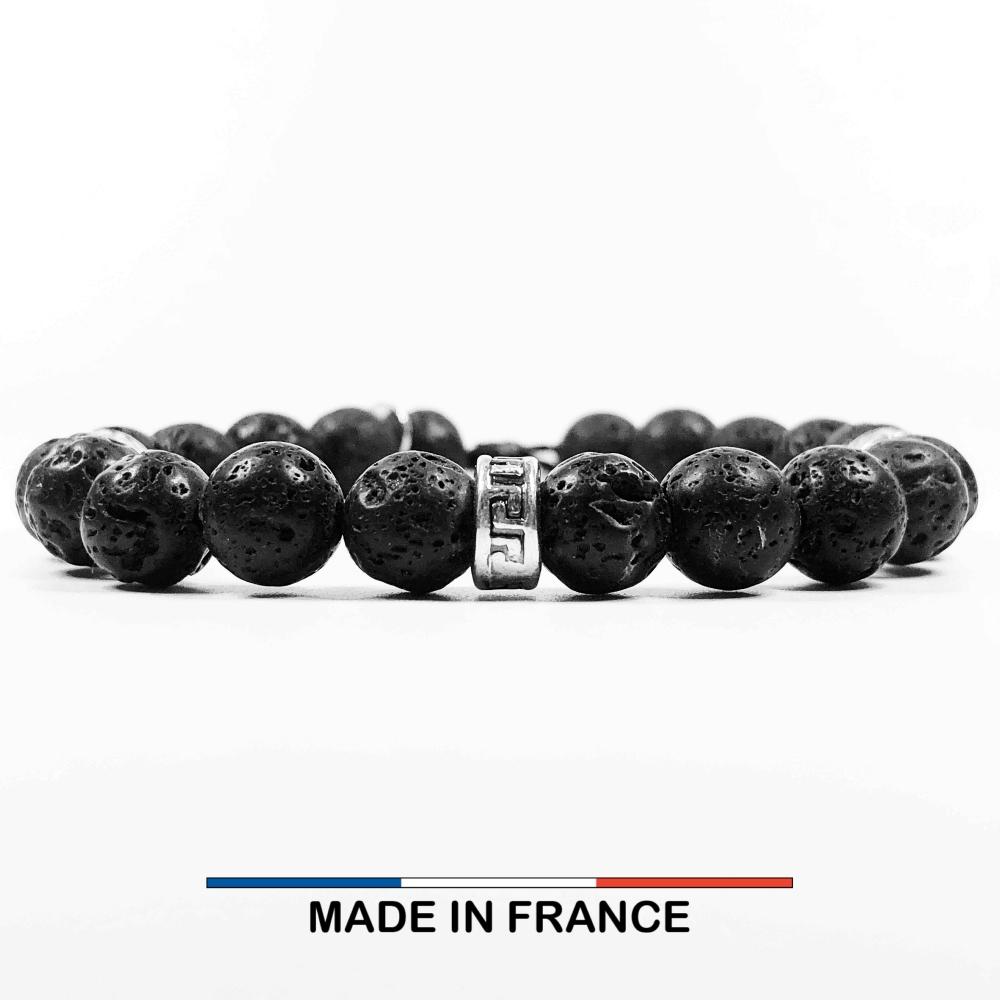 Bracelet yodee en Pierre de Lave 8 mm et 3 Intercalaires Argentés