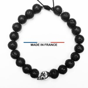 Bracelet Pierre de Lave 8 mm et un Crane Argenté vue du dessus
