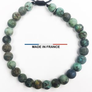 Bracelet pierre Turquoise Africaine 6 mm vue du dessus