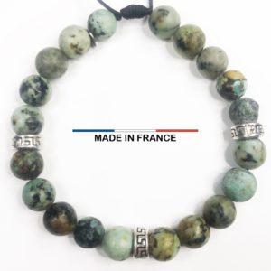 Bracelet pierre semi précieuse en Turquoise Africaine 8 mm et 3 Intercalaires Argentés vue du dessus