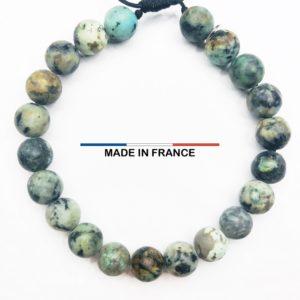 Bracelet pierre semi-précieuse en Turquoise Africaine 8 mm vue du dessus