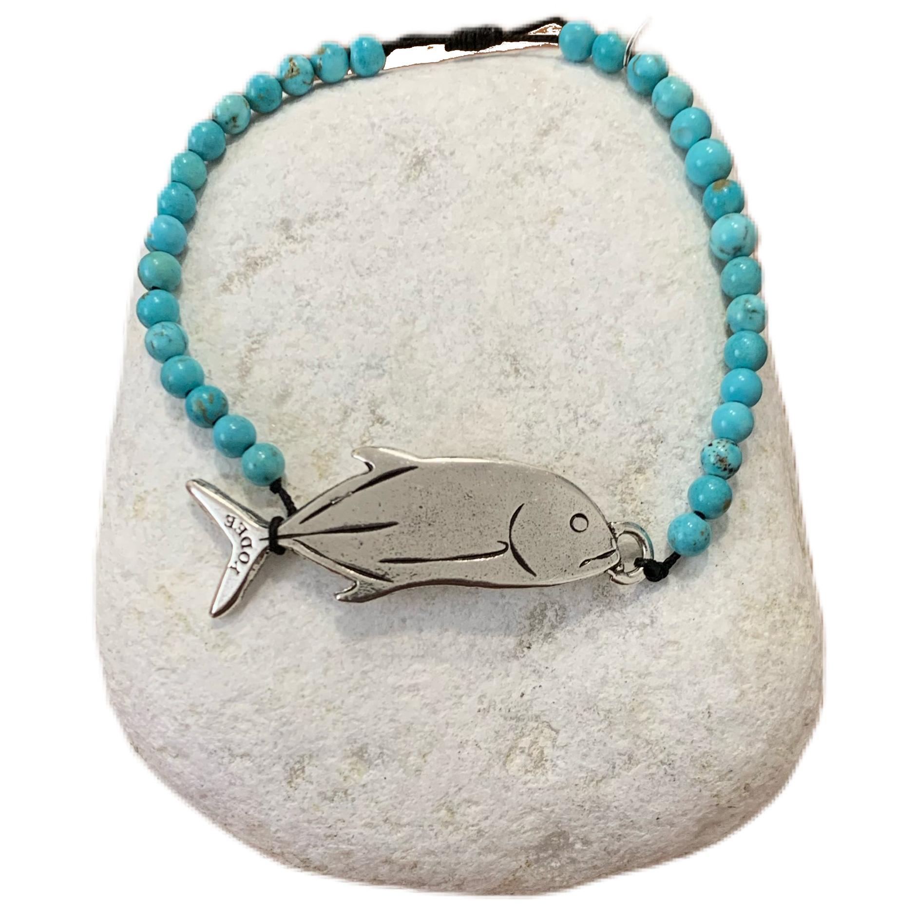Bracelet pierre Magnésite Turquoise 4mm avec une Carangue Argenté