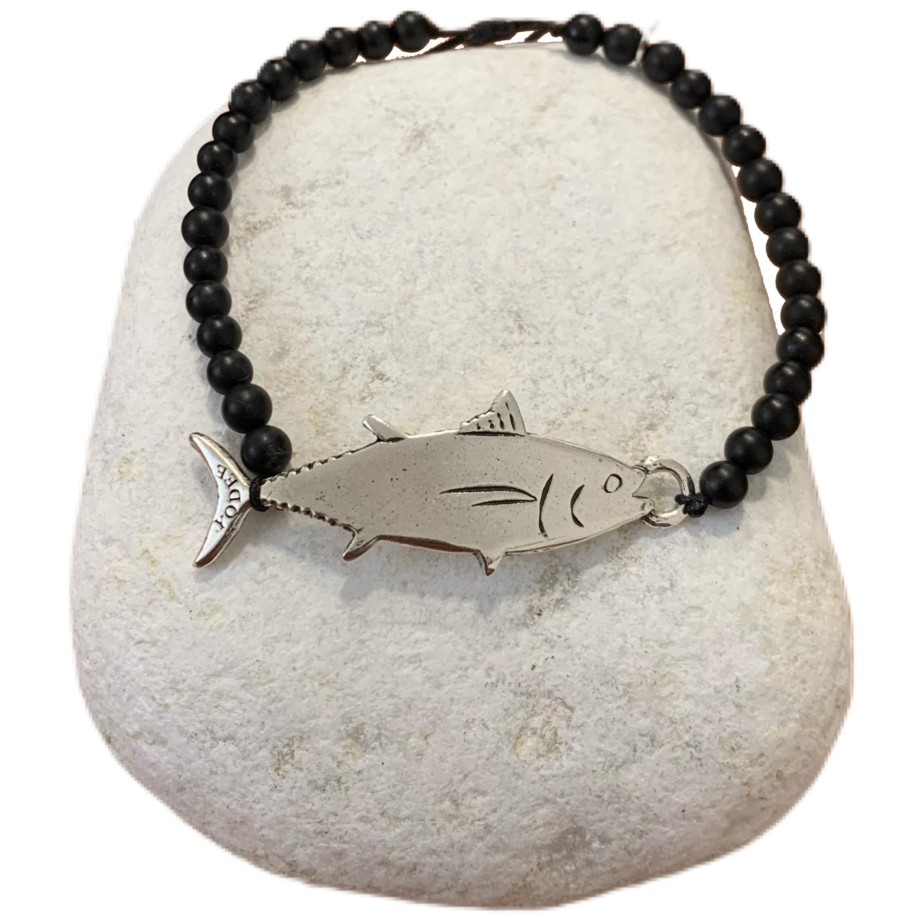 Bracelet pierre Onyx Brillant 4mm avec un Thon Argenté
