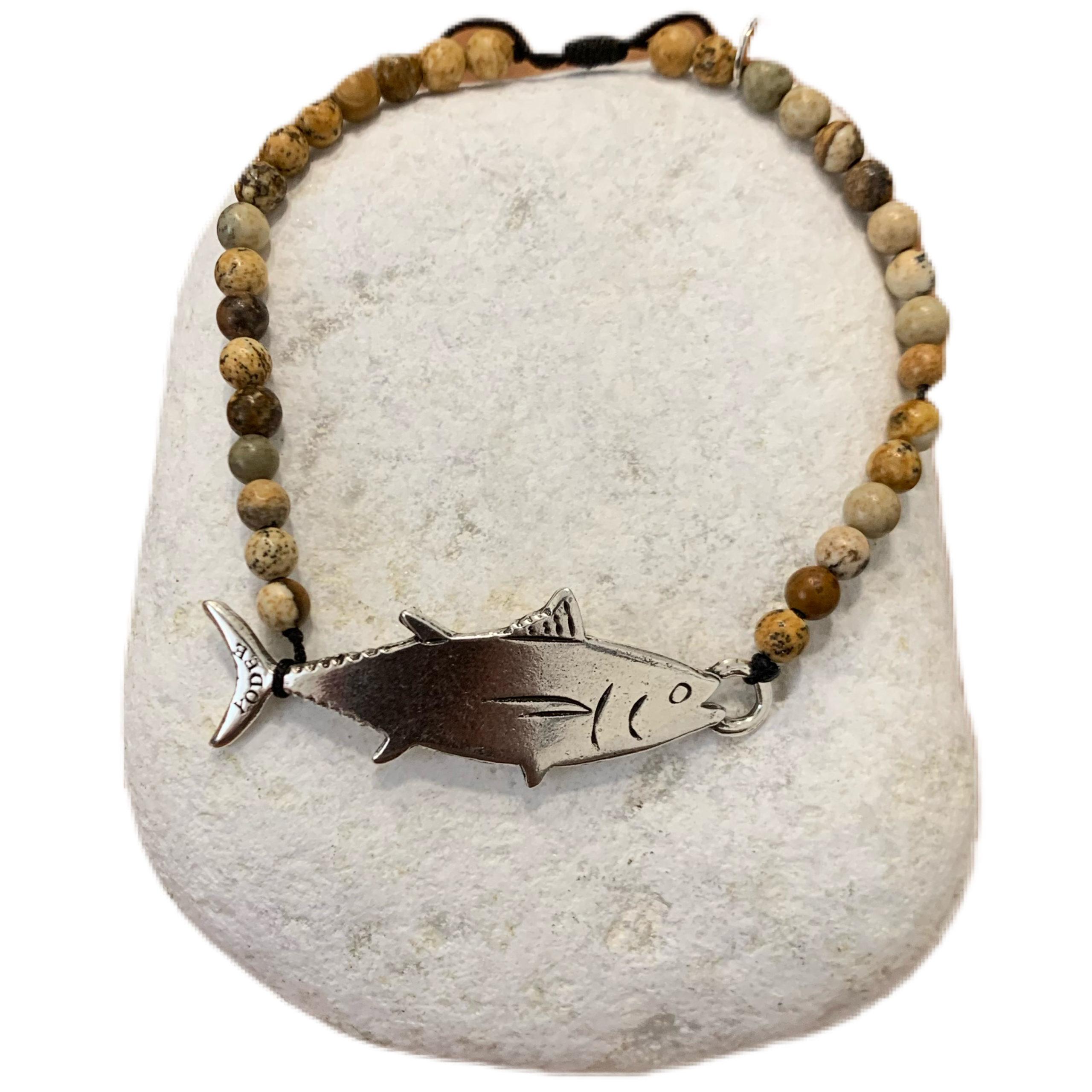 Bracelet pierre en Jaspe Paysagé d'Afrique du Sud 4mm avec un Thon Argenté