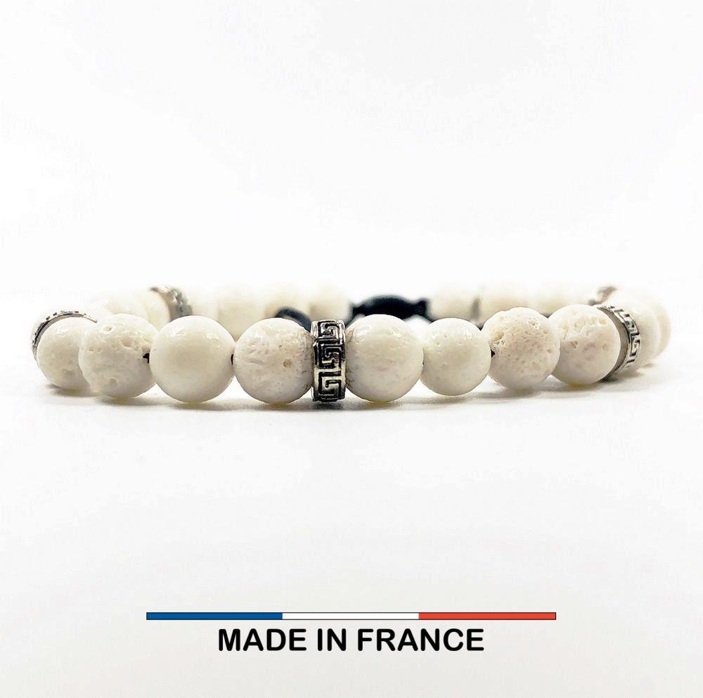 Bracelet yodee en Gorgone Blanche 6 mm et 3 Intercalaires Argentés