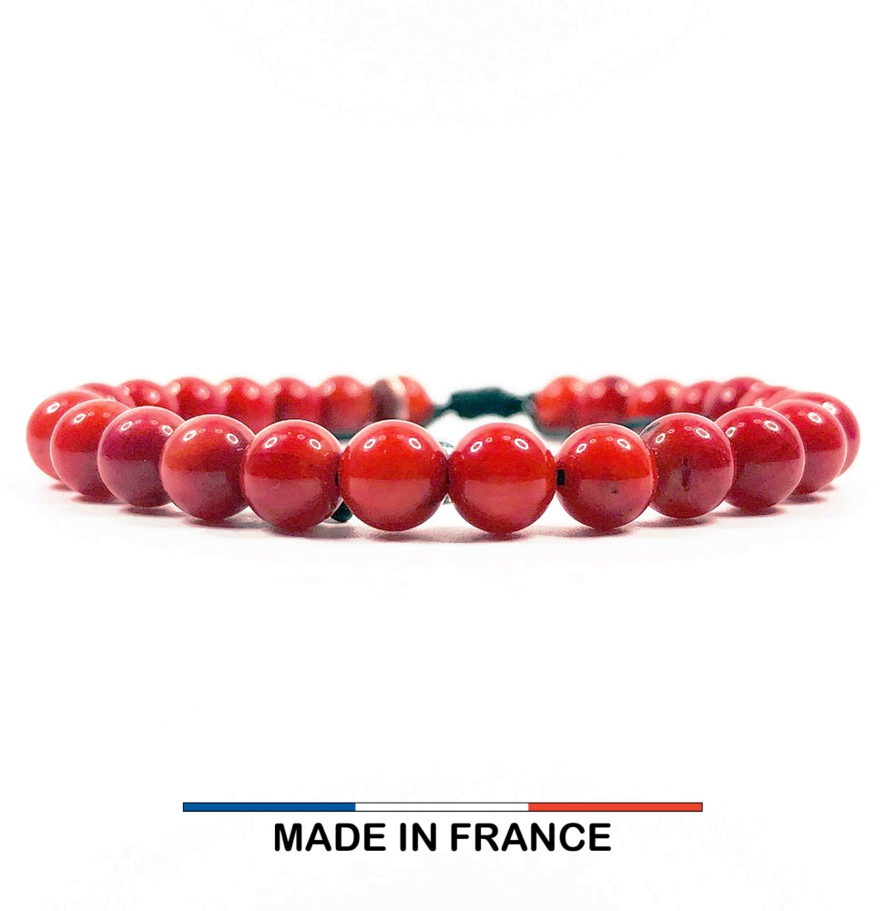 Bracelet yodee en Gorgone Rouge 6 mm