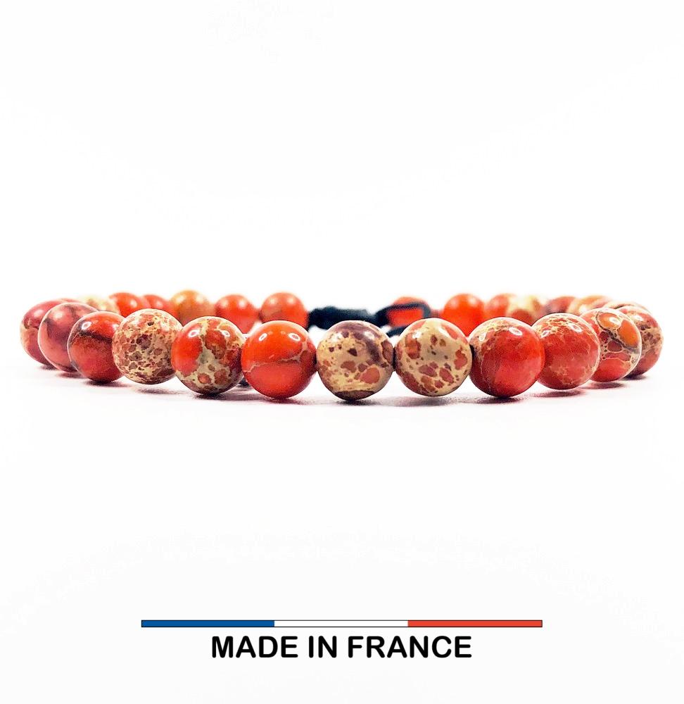Bracelet yodee en Jaspe Corail 6 mm