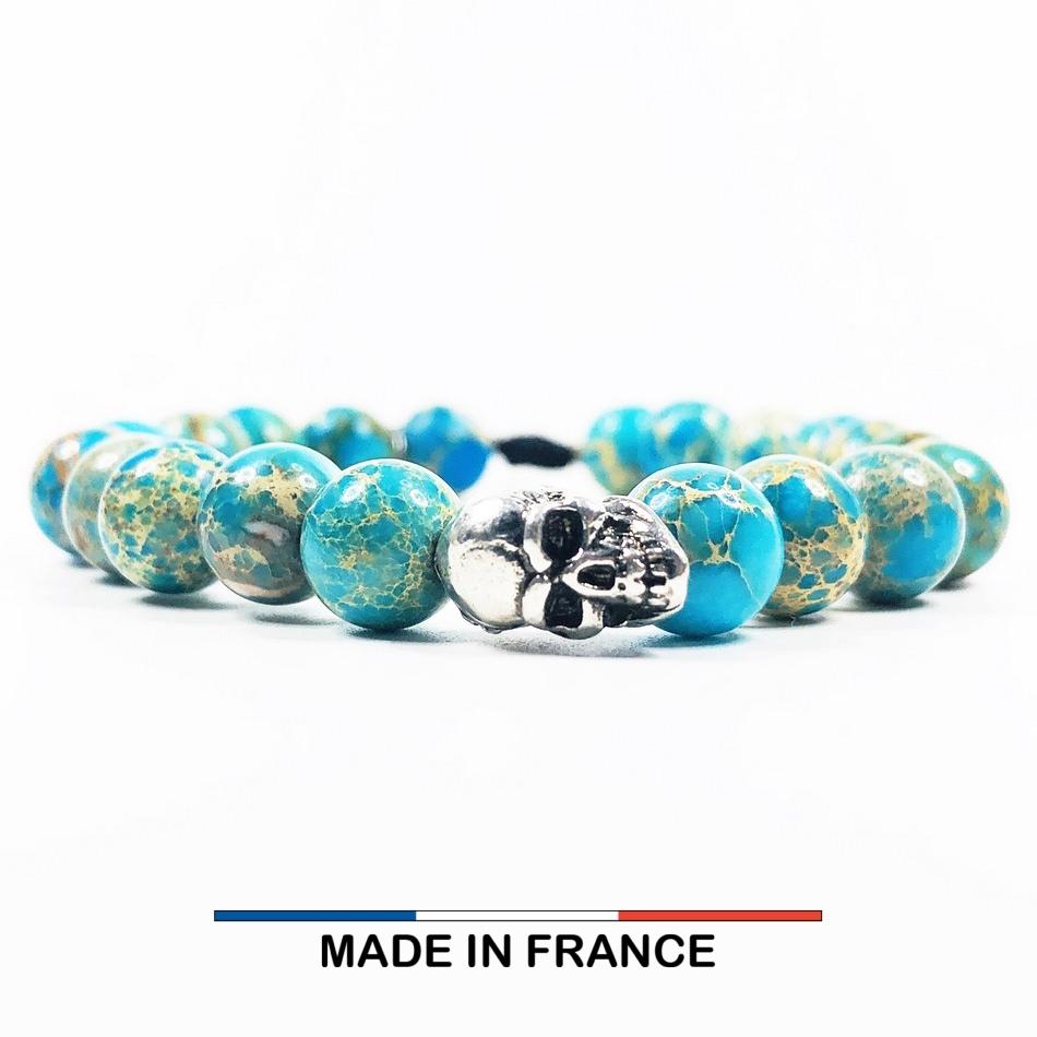Bracelet yodee en Jaspe Impérial Turquoise 8 mm et un Crane Argenté