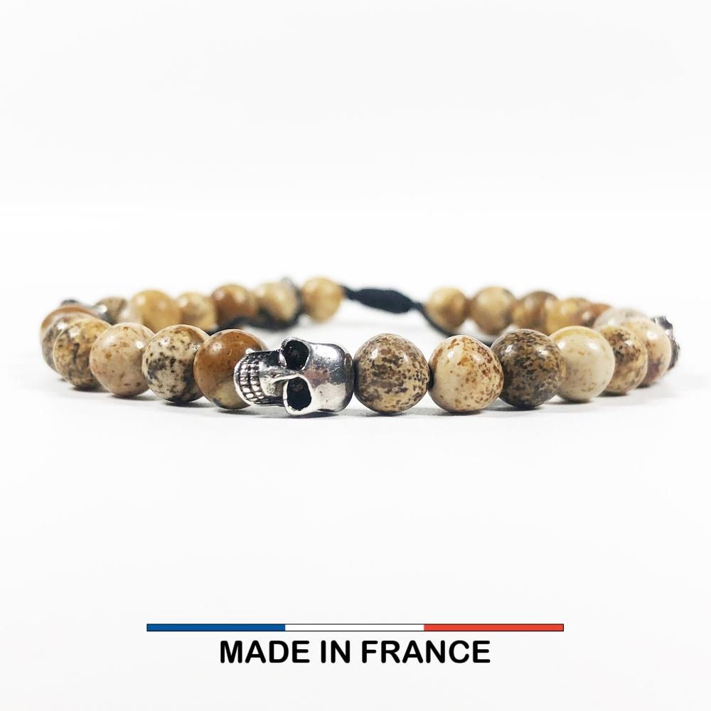 Bracelet yodee en Jaspe Paysage d'Afrique 6 mm avec 3 Cranes Argentés