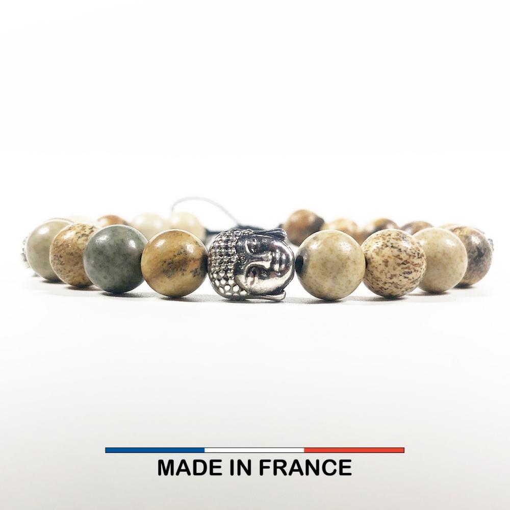 Bracelet yodee en Jaspe Paysage d'Afrique 8 mm avec 3 Boudhas Argentés