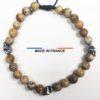 Bracelet yodee en Jaspe Paysage d_Afrique 6 mm avec 3 Cranes Argentés vue du dessus