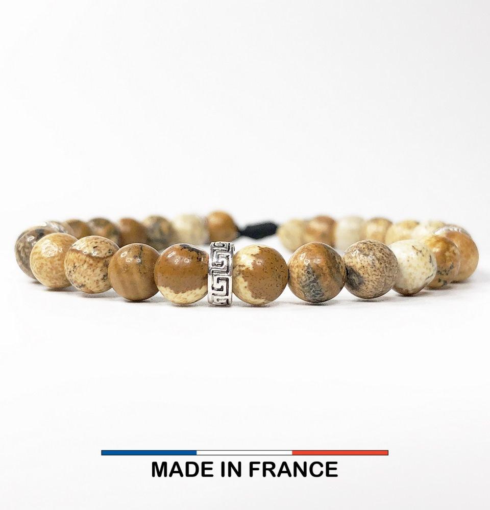 Bracelet yodee en Jaspe Paysage d_Afrique 6 mm avec 3 Intercalaires Argentés