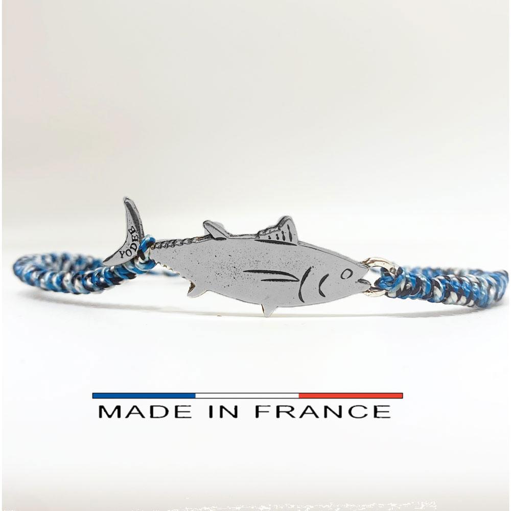 Bracelet-Cordon-Bleu-avec-un-Thon-Argenté