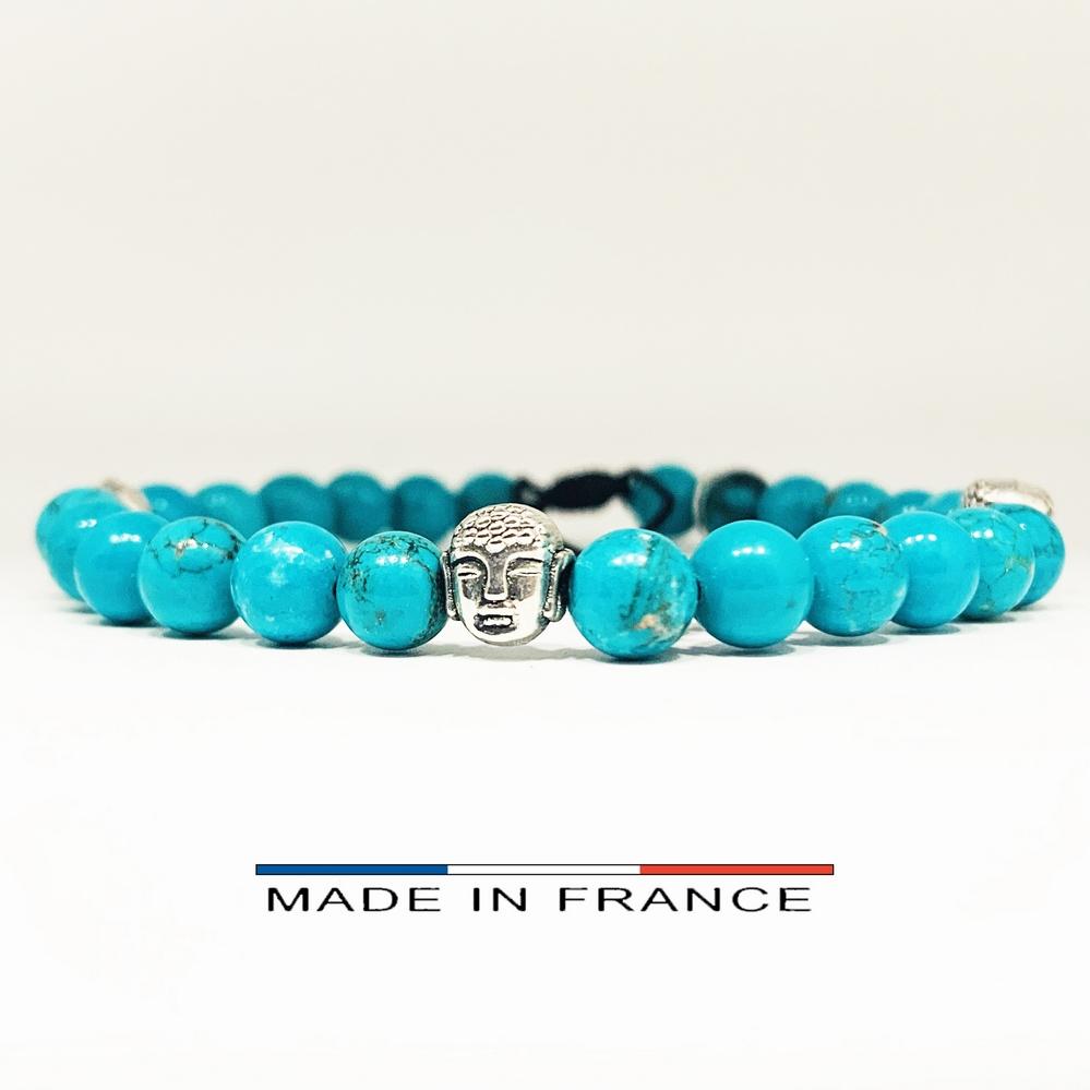 Bracelet-Pierre-En-Magnésite-Turquoise-6-Mm-Et-3-Bouddhas-Argentés (Copier)