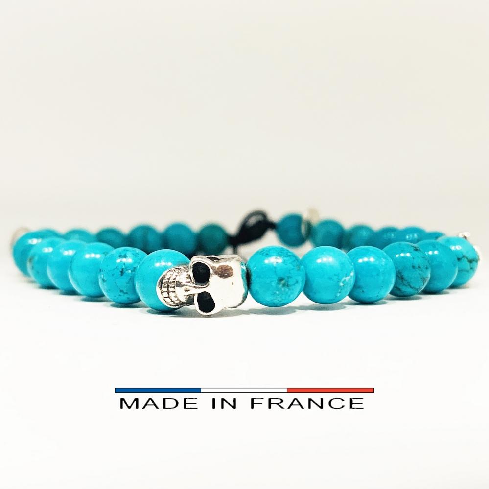Bracelet-Pierre-En-Magnésite-Turquoise-6-Mm-Et-3-Crânes-Argenté (Copier)