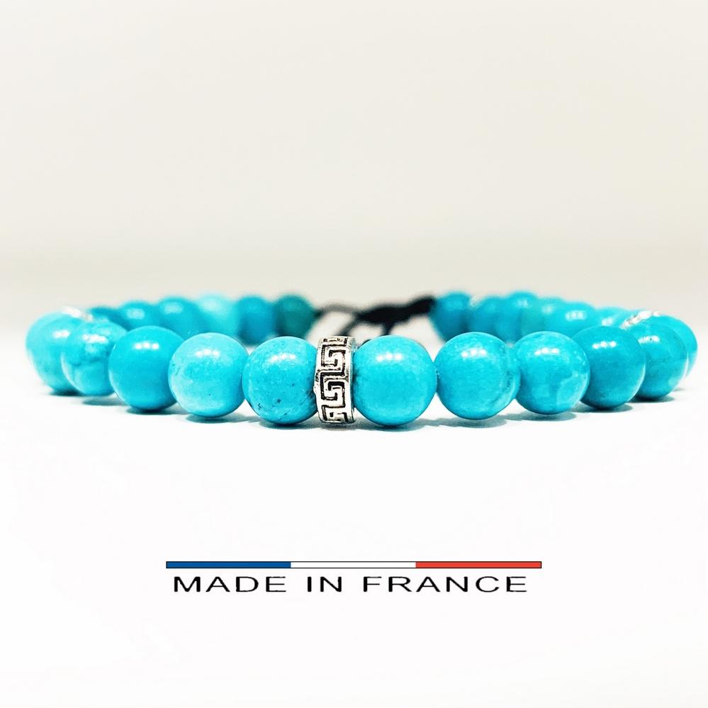Bracelet-Pierre-En-Magnésite-Turquoise-6-Mm-Et-3-Intercalaires-Argenté (Copier)