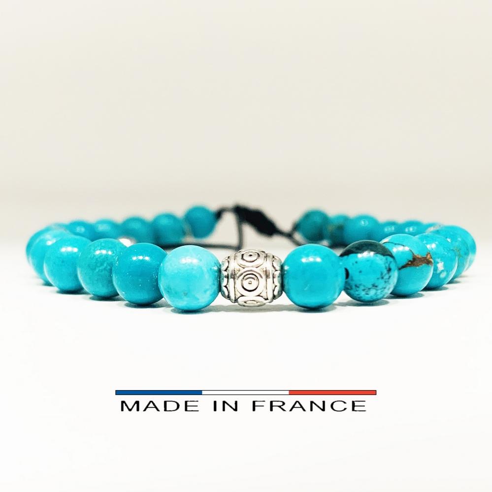 Bracelet-Pierre-En-Magnésite-Turquoise-6-Mm-Et-3-Olives-Argentées (Copier)