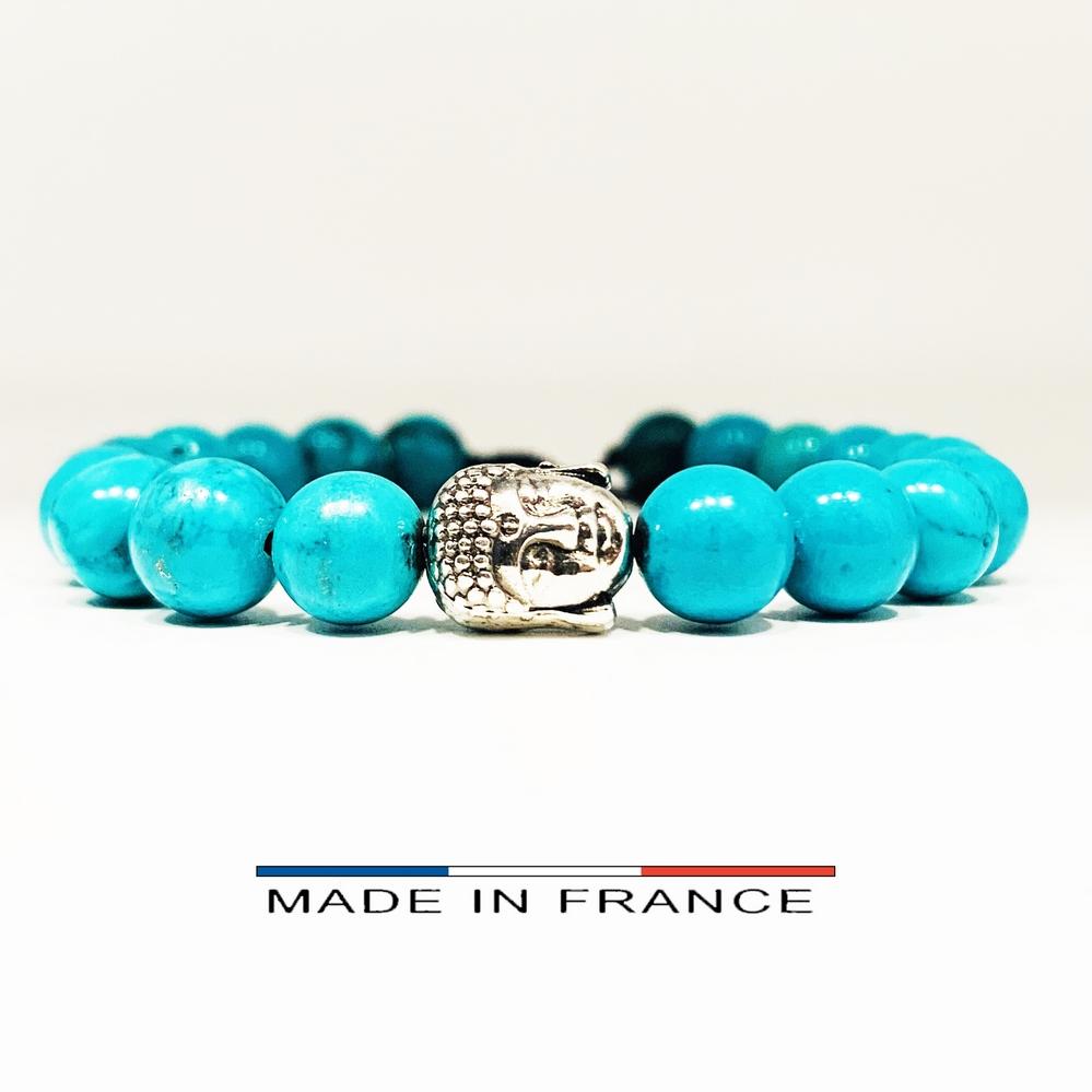 Bracelet-Pierre-En-Magnésite-Turquoise-8-Mm-Et-1-Bouddha-Argenté (Copier)