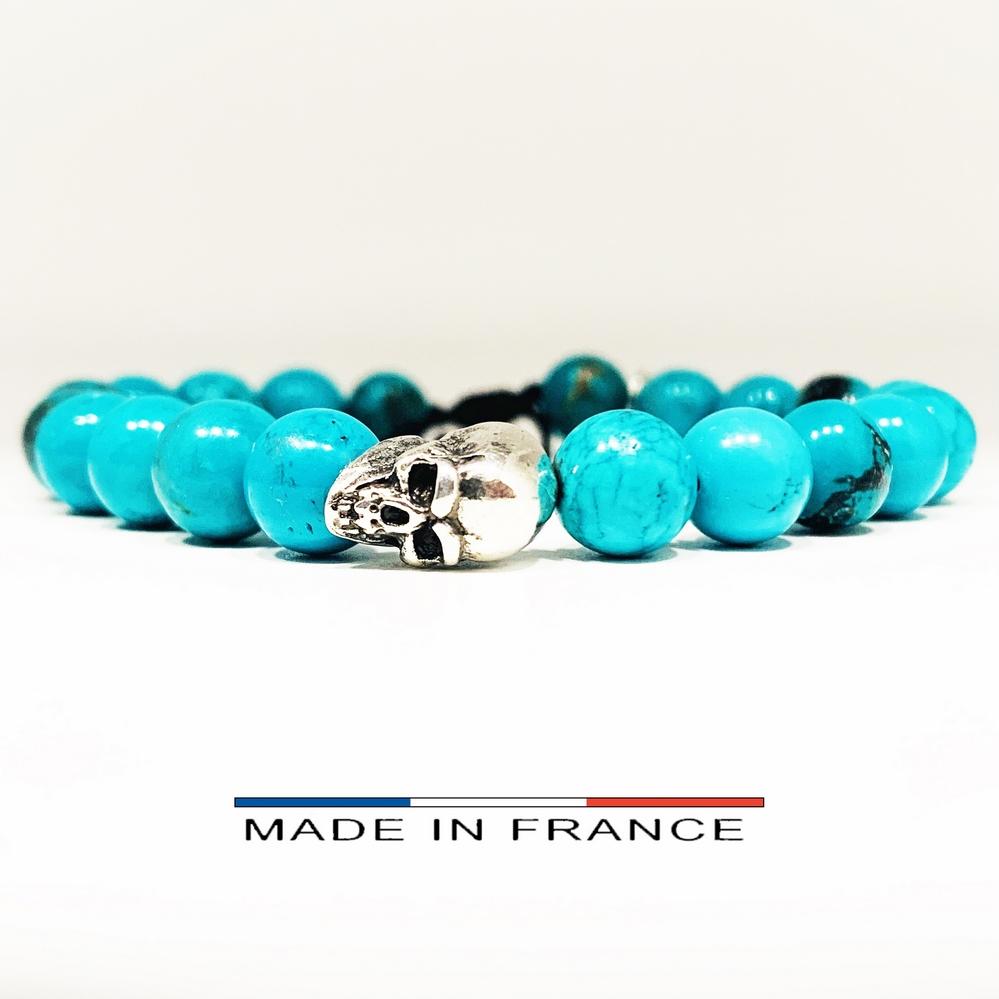 Bracelet-Pierre-En-Magnésite-Turquoise-8-Mm-Et-1-Crâne-Argenté (Copier)