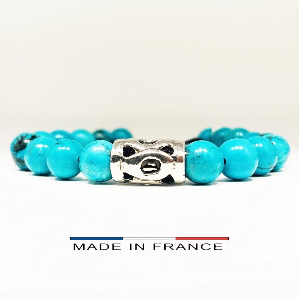Bracelet-Pierre-En-Magnésite-Turquoise-8-Mm-Et-1-Grand-Intercalaire-Argenté (Copier)