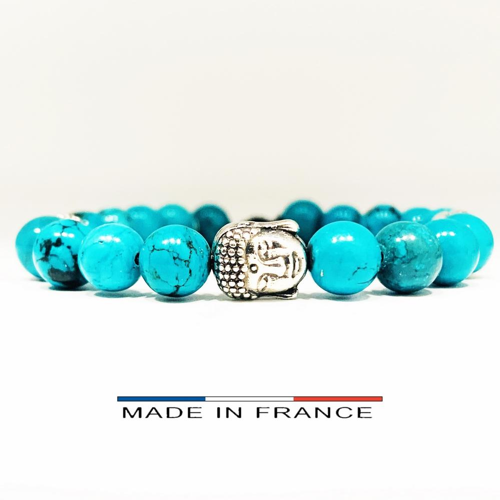 Bracelet-Pierre-En-Magnésite-Turquoise-8-Mm-Et-3-Bouddhas-Argentés (Copier)