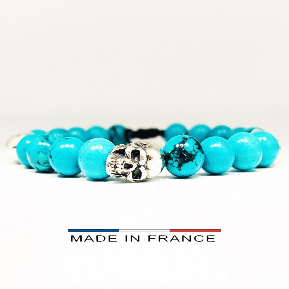 Bracelet-Pierre-En-Magnésite-Turquoise-8-Mm-Et-3-Crânes-Argenté (Copier)