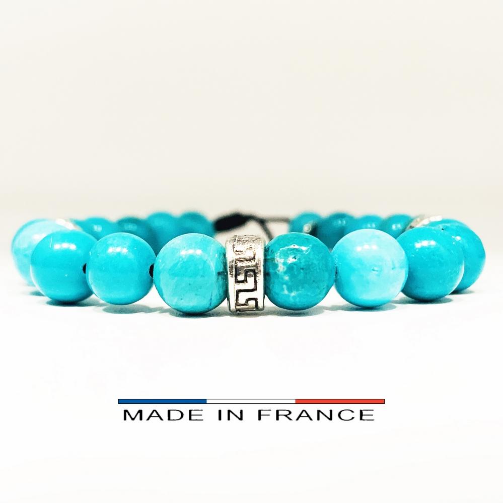 Bracelet-Pierre-En-Magnésite-Turquoise-8-Mm-Et-3-Intercalaires-Argenté (Copier)